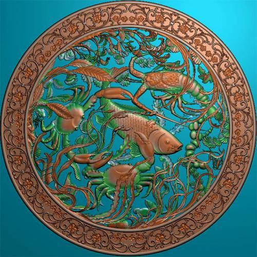 鱼精雕图,鱼浮雕图,鱼雕刻图,鱼加工图(Y-326)