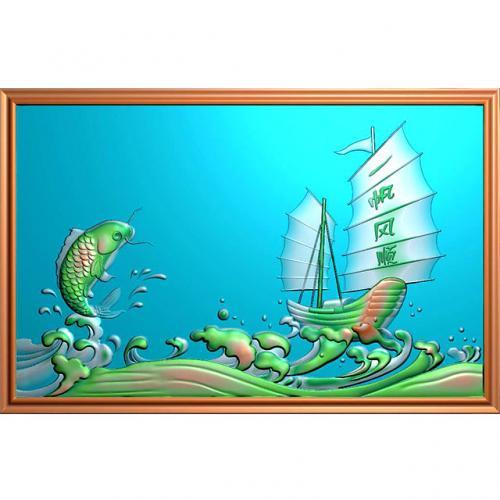 鱼精雕图,鱼浮雕图,鱼雕刻图,鱼加工图(Y-330)