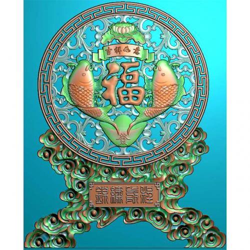 鱼精雕图,鱼浮雕图,鱼雕刻图,鱼加工图(Y-331)