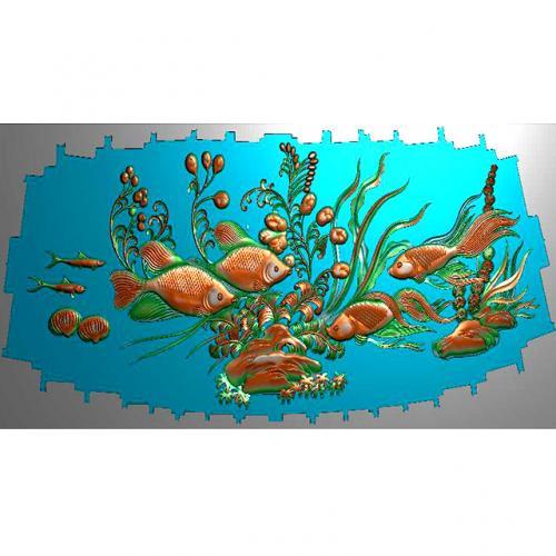 鱼精雕图,鱼浮雕图,鱼雕刻图,鱼加工图(Y-332)