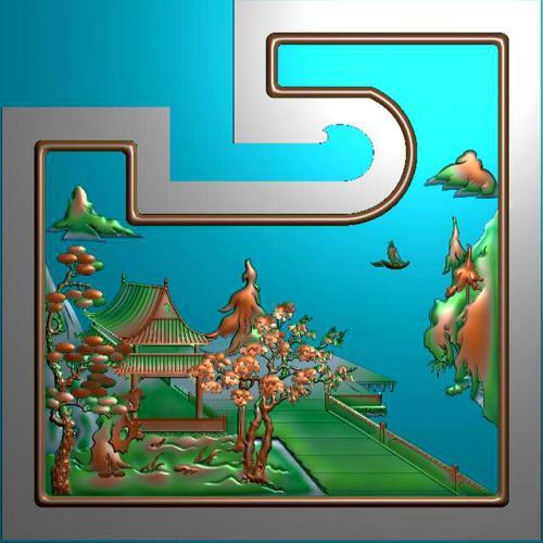 山水建筑精雕图,山水建筑浮雕图,山水建筑雕刻图,山水建筑加工图(SSJZ-319)