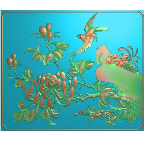 菊花花鸟雕刻图(HN-1503)