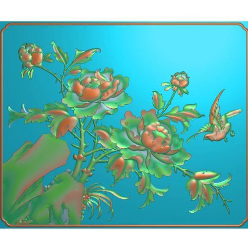 牡丹花鸟雕刻图(HN-1506)