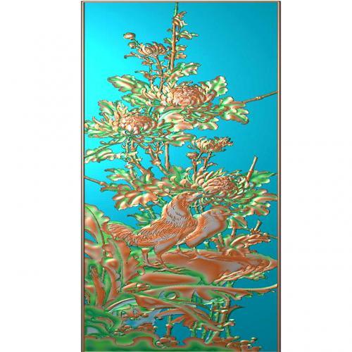 花鸟菊花芭蕉石头浮雕图(HN-019)