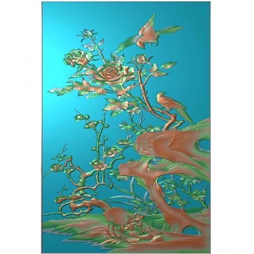 牡丹花鸟浮雕图(HN-023)