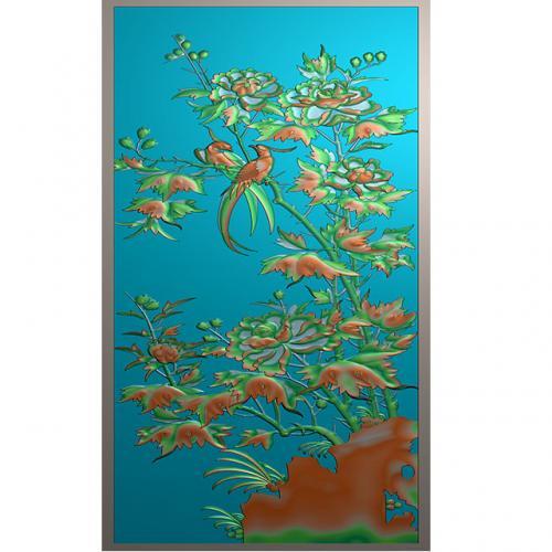 牡丹花鸟浮雕图(HN-027)