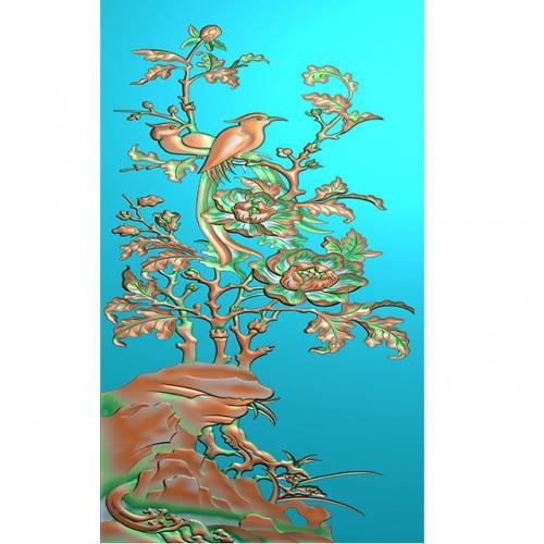 牡丹石头花鸟浮雕图(HN-174)