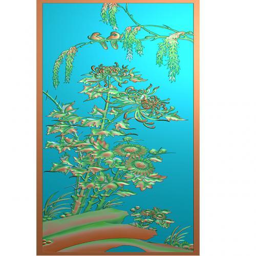 菊花石头花鸟浮雕图(HN-201)