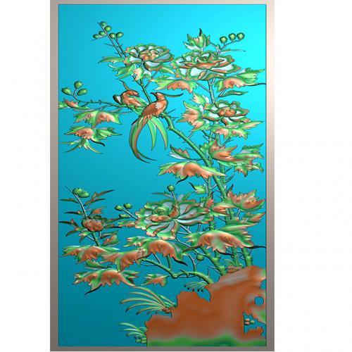 牡丹花鸟浮雕图(HN-202)
