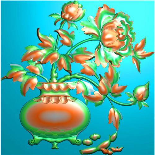牡丹花鸟浮雕图(HN-210)
