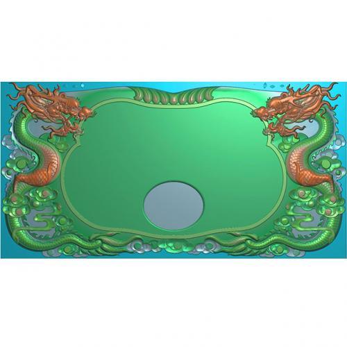 龙凤茶盘茶台浮雕图(LFCP-031)