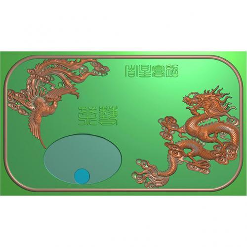 龙凤茶盘茶台浮雕图(LFCP-038)