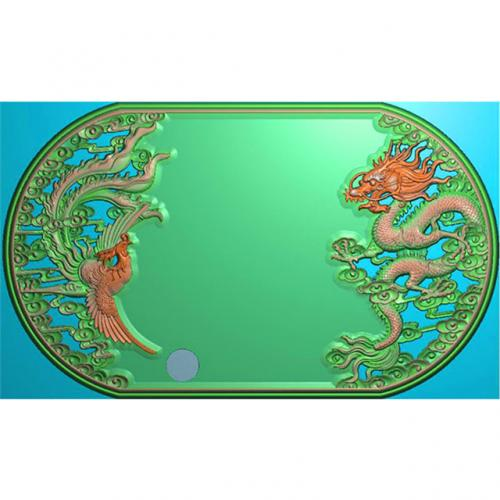 龙凤茶盘茶台精雕图(LFCP-109)