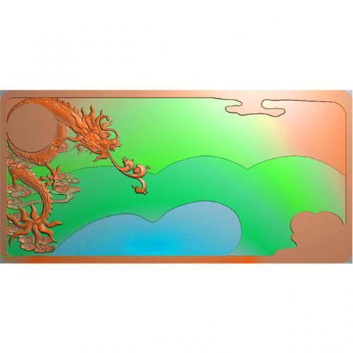 龙凤茶盘茶台精雕图(LFCP-129)
