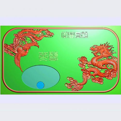 龙凤茶盘茶台精雕图(LFCP-219)