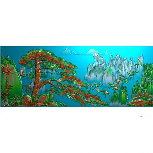 石材玉雕背景墙浮雕图(YD-40)