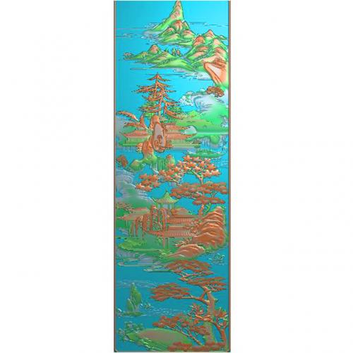 山水建筑精雕图(SSJZ-3075)