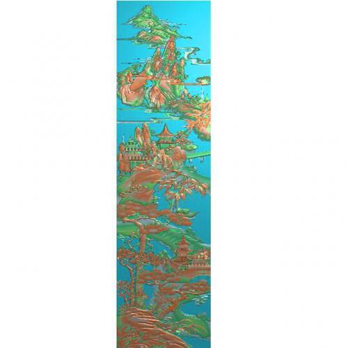 山水建筑浮雕图(SSJZ-3099)