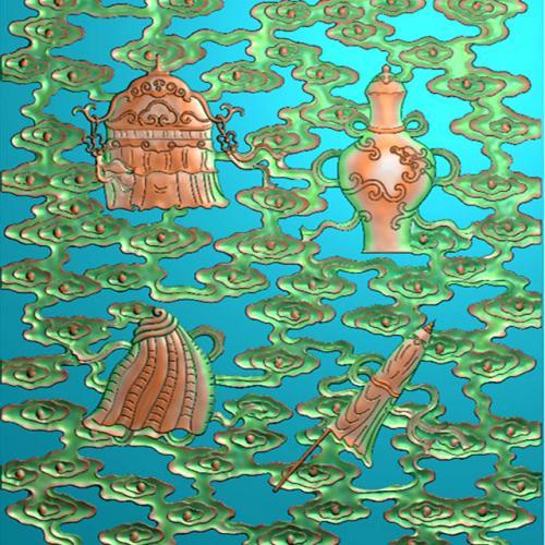藏式八宝精雕图(BB-487)