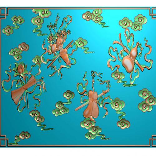 藏式八宝精雕图(BB-496)