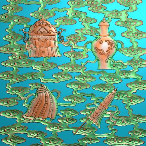 藏式八宝精雕图(BB-498)