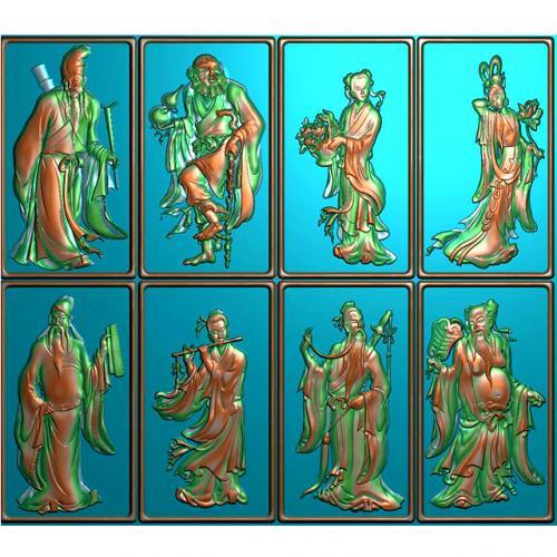 古代人物八仙挂件精雕图(GJ-0002)