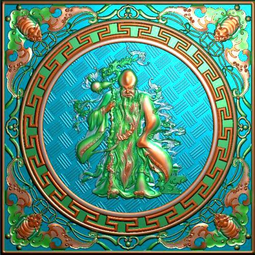 古代人物寿星挂件挂匾精雕图挂匾浮雕图(GJ-0004)
