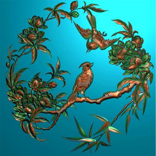 花鸟盘挂件挂匾精雕图挂匾浮雕图(GJ-0012)