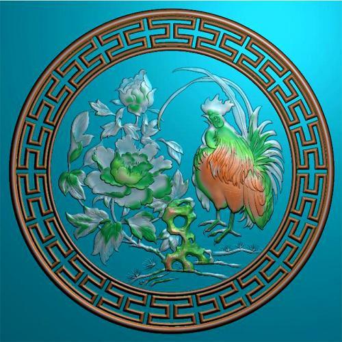 公鸡牡丹回纹圆盘挂匾精雕图(GJ-8003)