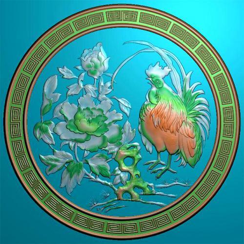 公鸡牡丹回纹圆盘挂匾精雕图(GJ-8004)