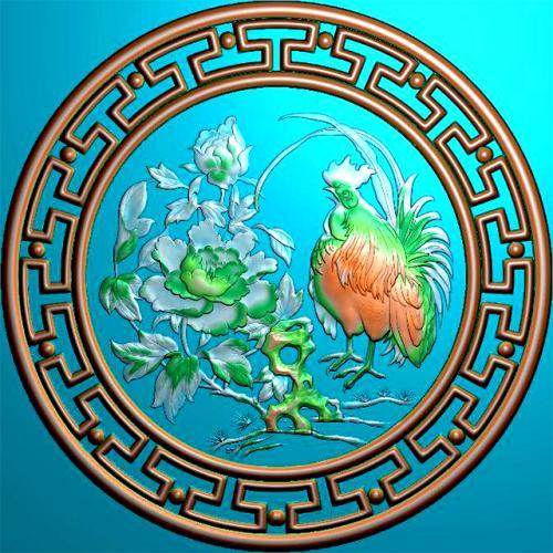 公鸡牡丹回纹圆盘挂匾精雕图(GJ-8005)