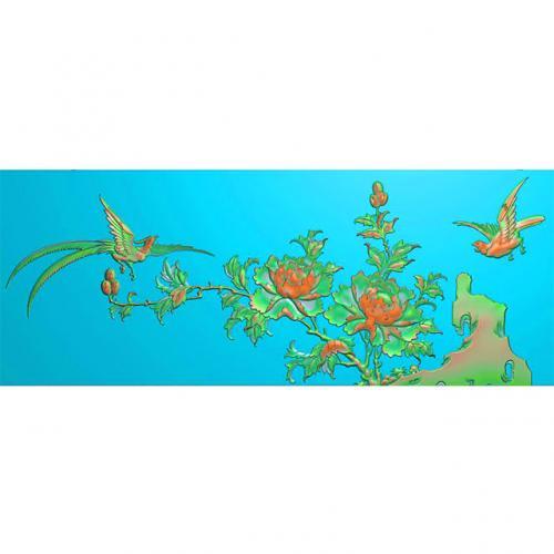 花鸟牡丹花草石头精雕图(MD-097)