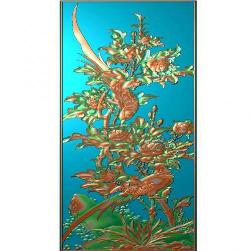 花鸟锦鸡石头浮雕图(HN-013)