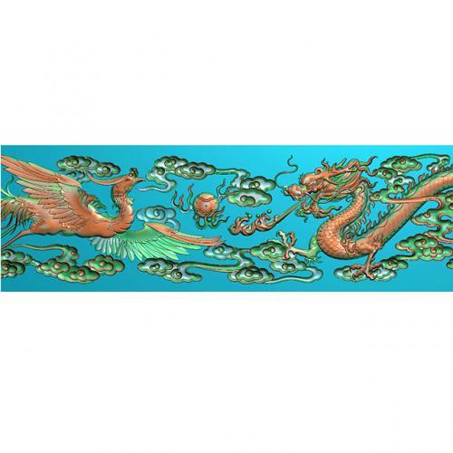 龙凤戏珠牙板祥云浮雕图(L-062)