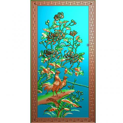 菊花公鸡带回纹边框小背板精雕图(CTBB-4151)