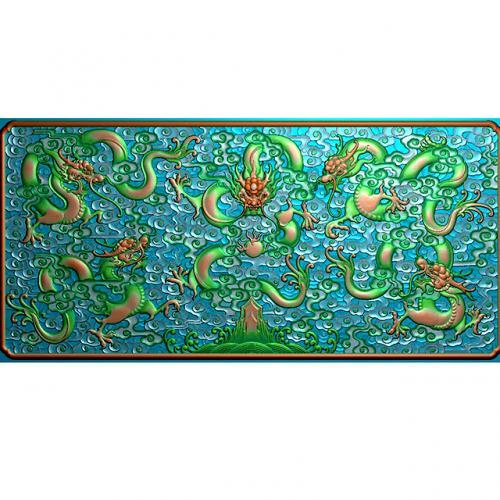 五龙祥云浮雕雕刻图(L-347)