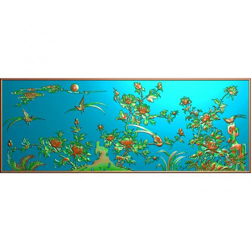 花鸟牡丹花草背板精雕图(CTBB-4161)
