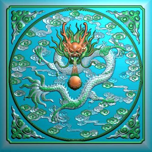 单龙正面祥云有边框精雕图(L-1236)