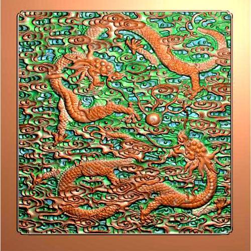 龙祥云有边框精雕图(L-1234)