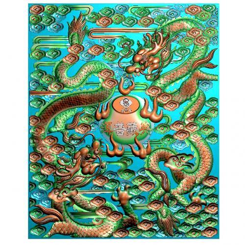 龙-祥云浮雕雕刻图(L-898)