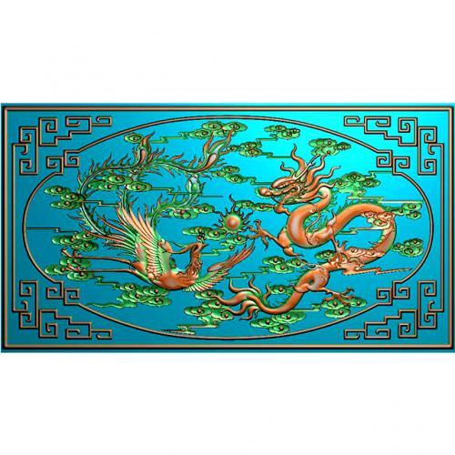 龙凤祥云有边框精雕图(L-1232)