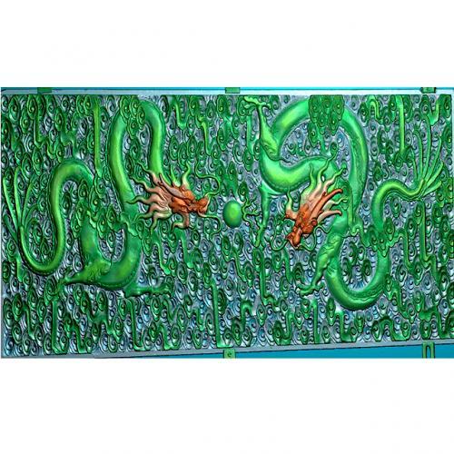 龙-祥云浮雕雕刻图(L-1221)
