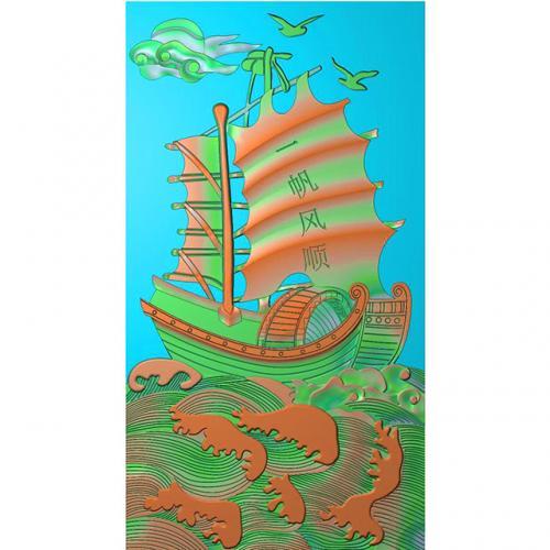 石材一帆风顺帆船浮雕图(ZS-88)