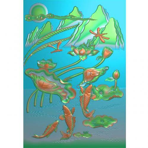 石材荷花鱼雕刻图(ZS-269)