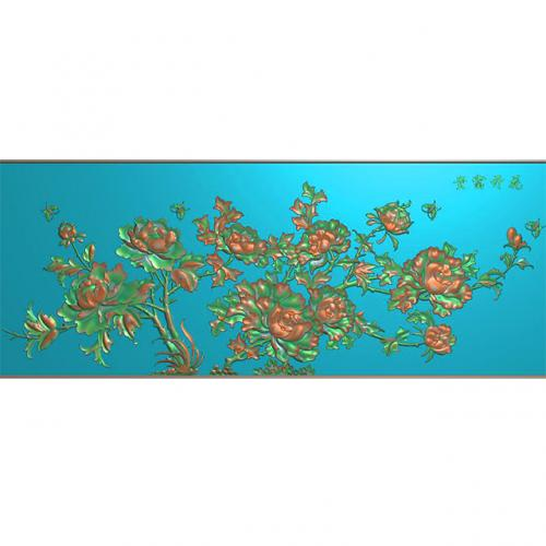 石雕牡丹花草花开富贵精雕图(ZS-321)