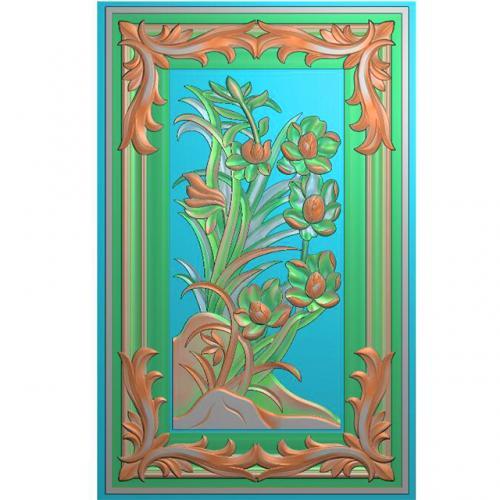 石雕花草兰花带边框精雕图(ZS-346)