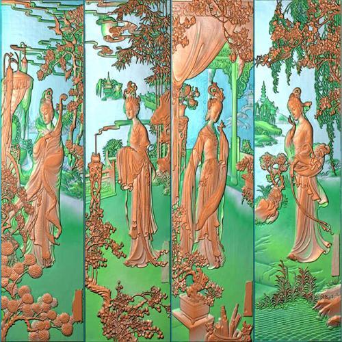 四大美女整套图精雕图(SDMN-002)