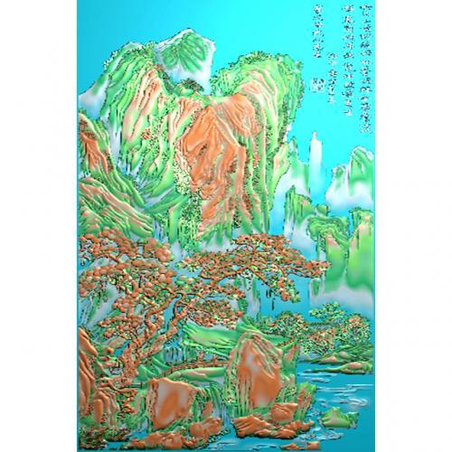 山水人物浮雕图(SSRW-6045)