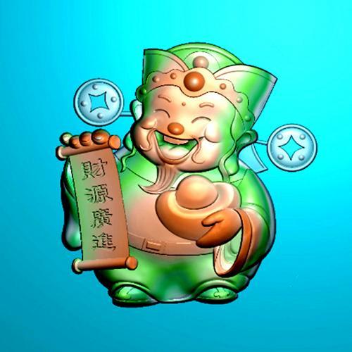 卡通财神牌精雕图(SLP-0256)