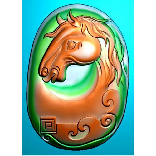 马头玉雕四六牌精雕图(SLP-0270)